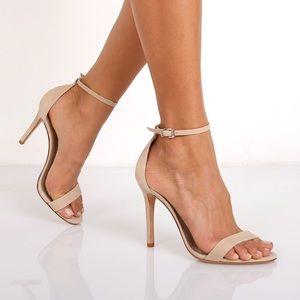 Schutz Cadey Lee suede heeled sandal in Oyster